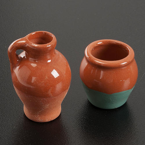 Anfore terracotta smaltate 2pz diam 2,5 cm 2