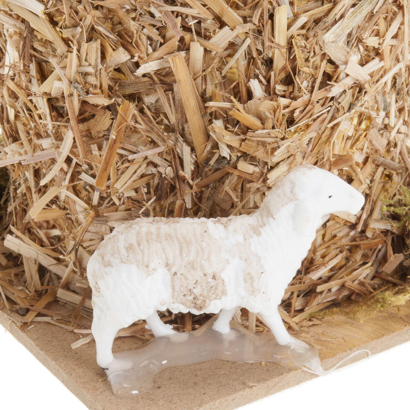 Nativity scene, sheaf of straw with sheep 10, 12cm 3