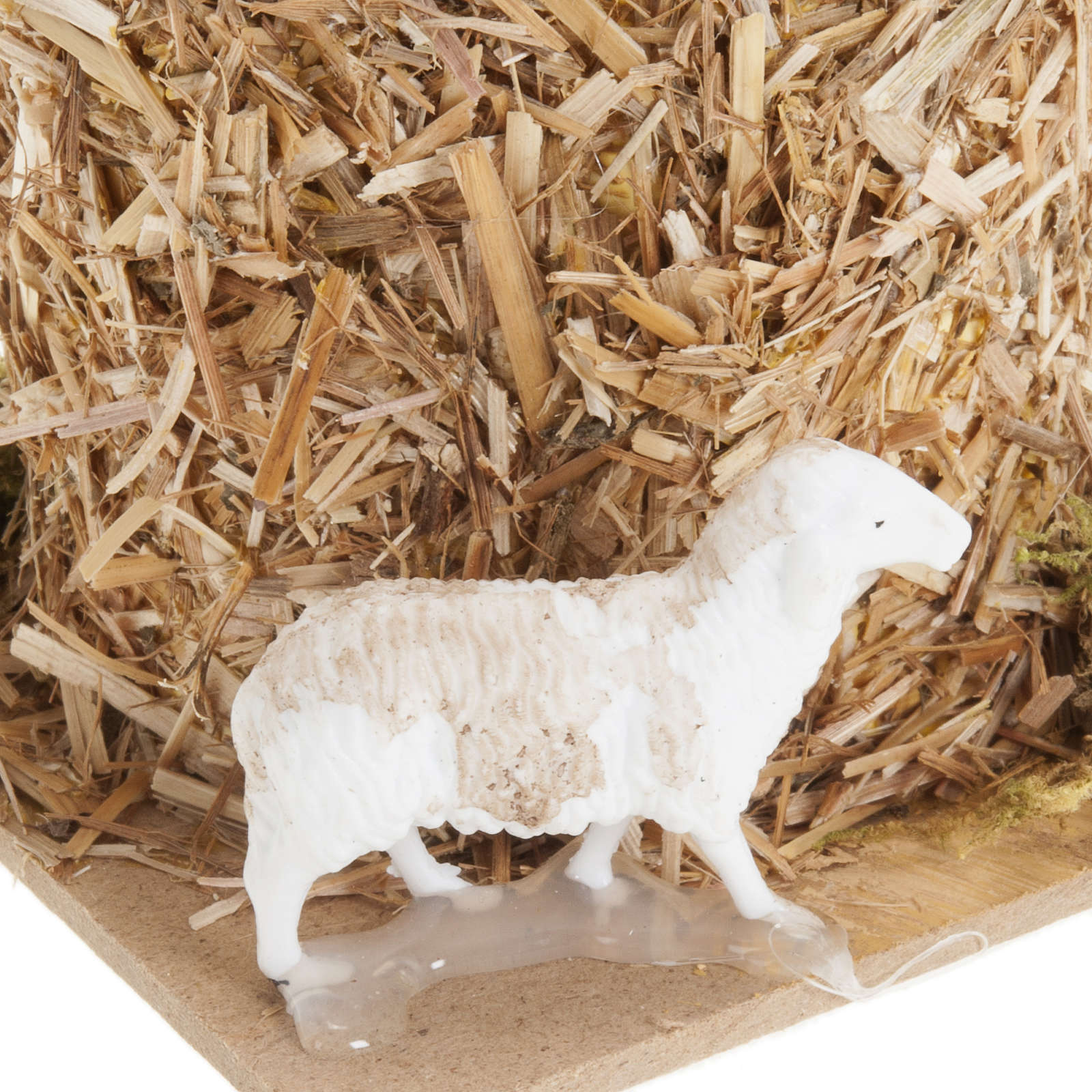 Nativity scene, sheaf of straw with sheep 10, 12cm 3