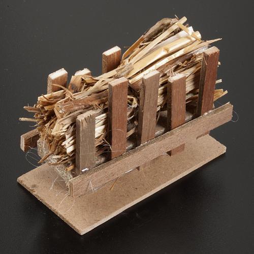 Nativity accessory, manger with straw, 10x5cm 2