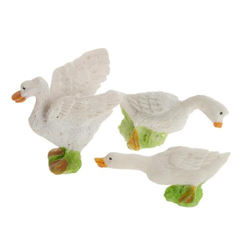 Nativity figurines, geese in resin 12cm, set of 3 1