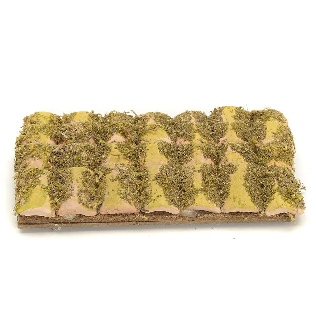 Tetto presepe con tegole e muschio 13x7cm 4