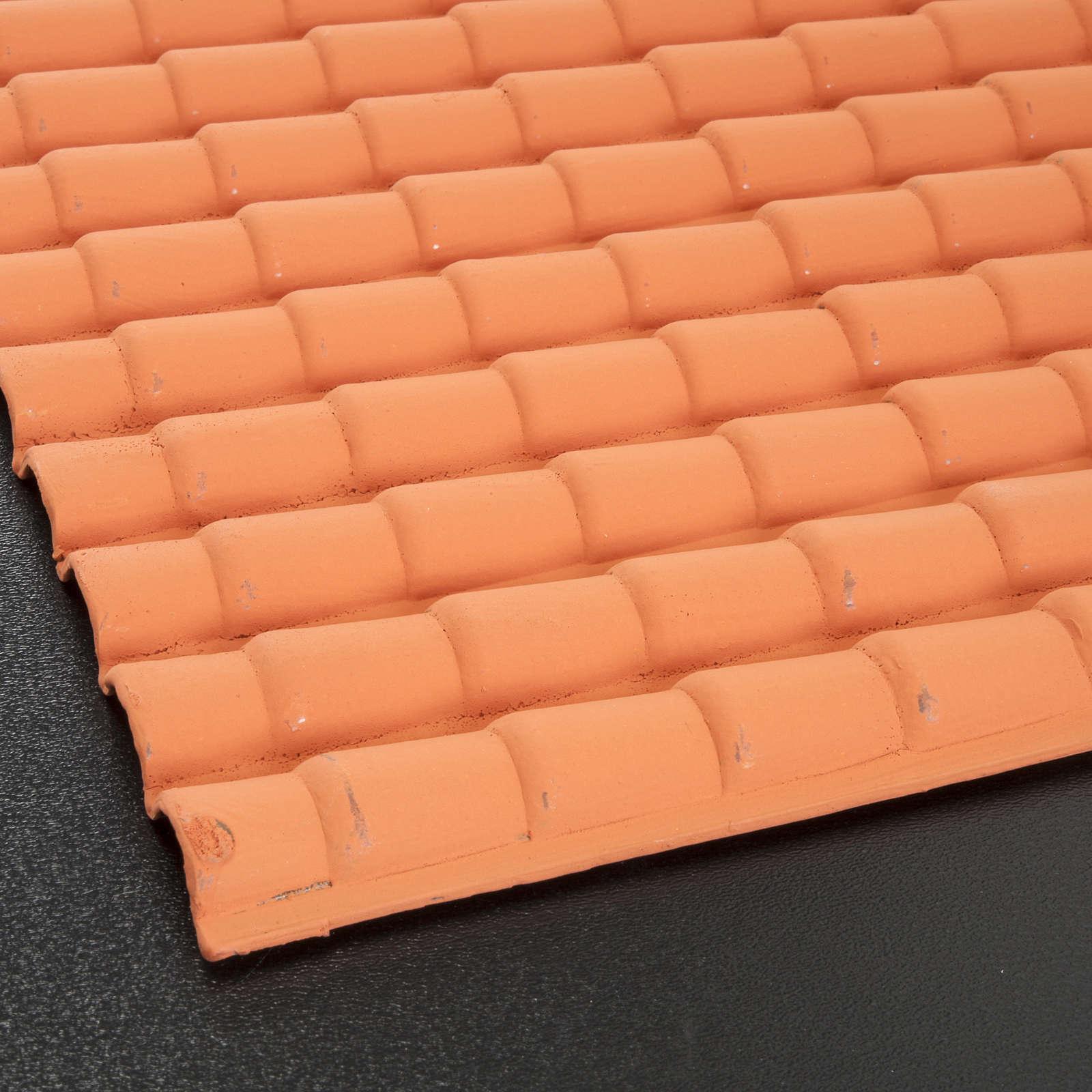 Toit de tuiles crèche 35x25cm couleur terre cuite 4