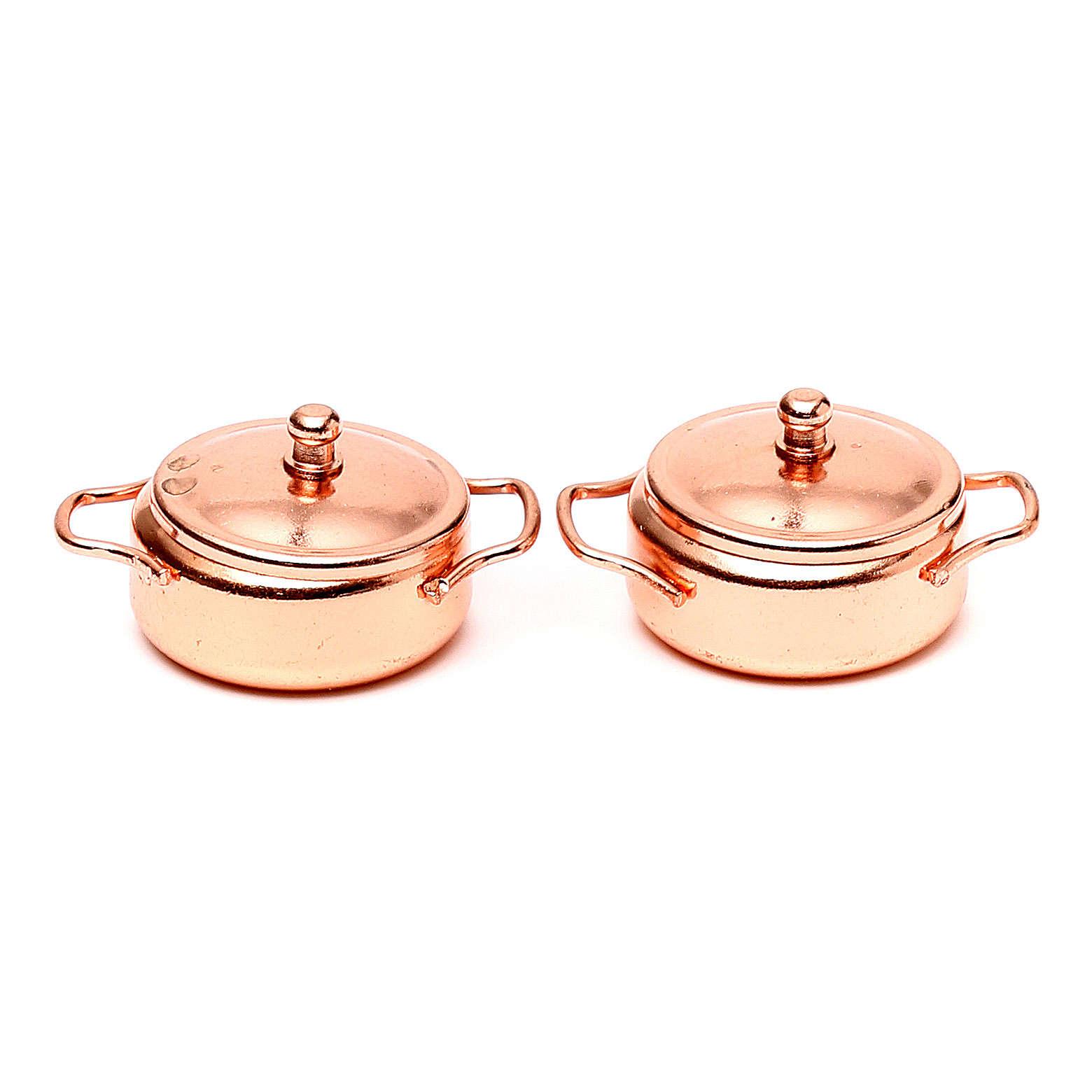 Pans in copper coloured metal, nativity set, 2pcs 4