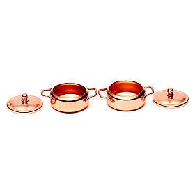 Panelas metal cor de cobre presépio conjunto 2 peças s2