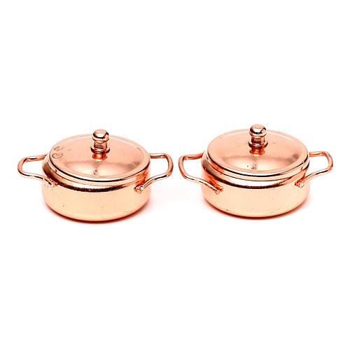 Pans in copper coloured metal, nativity set, 2pcs 1