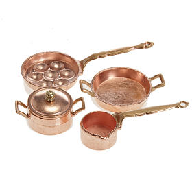 Home accessories miniatures: Nativity accessory, pans and pots in metal, set of 4 pieces
