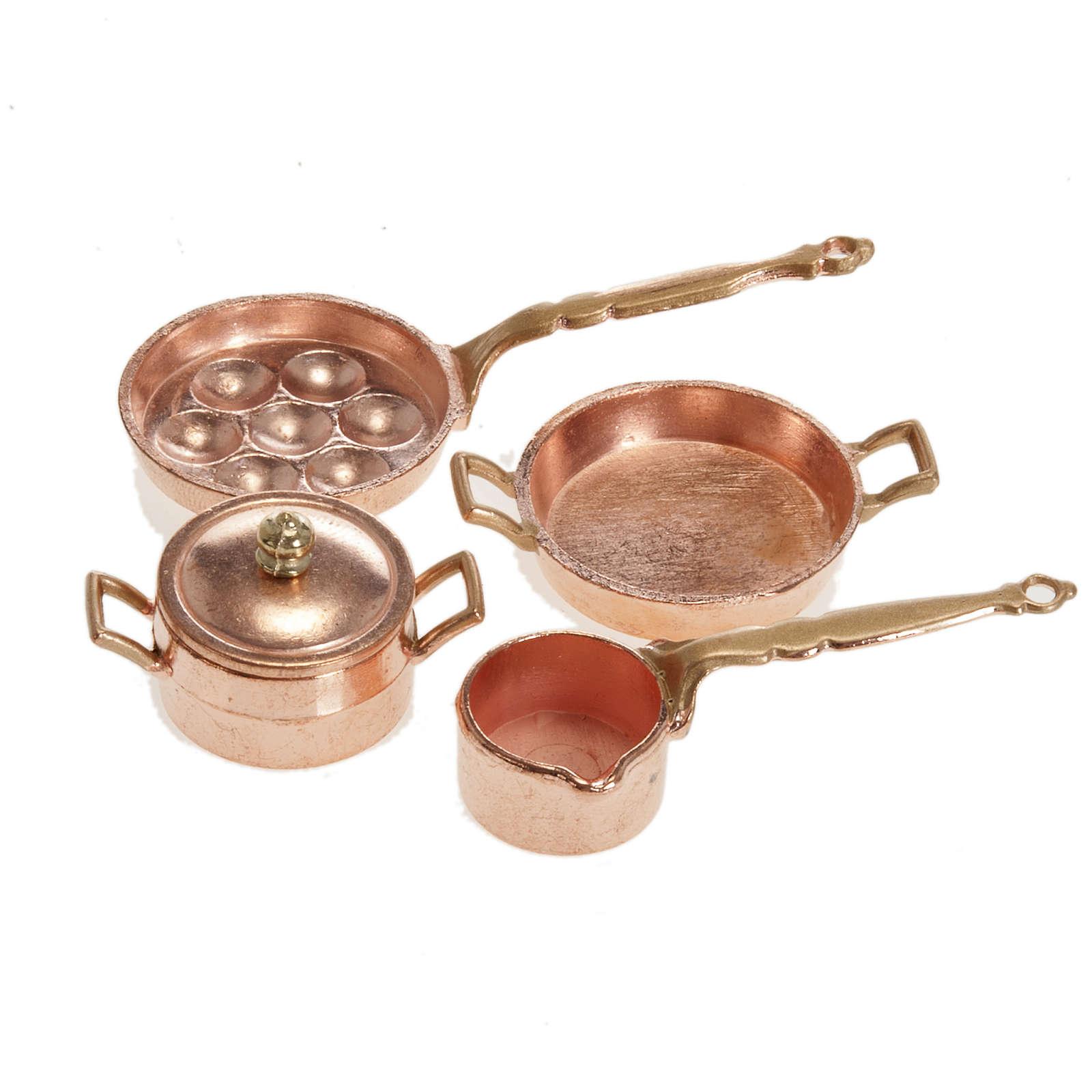 Sartenes para el belén metal set 4 piezas 4