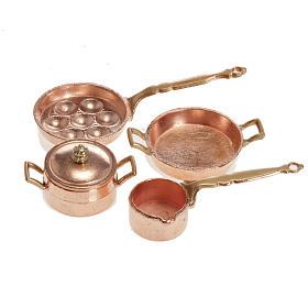 Accesorios para la casa: Sartenes para el belén metal set 4 piezas