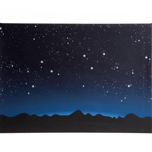 Fondo luminoso con cielo y montañas con luces LED 70x50cm 1