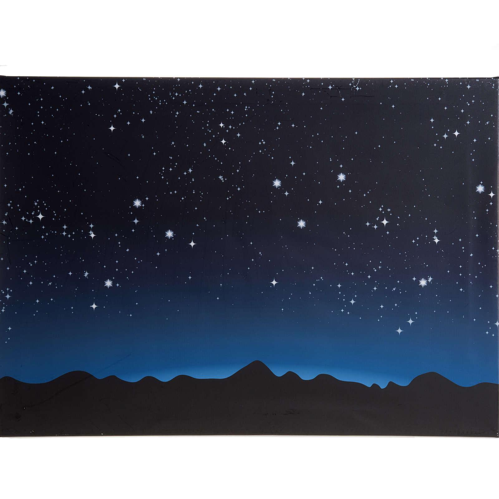 Sfondo presepe luminoso led cielo e montagne 70x50cm 4