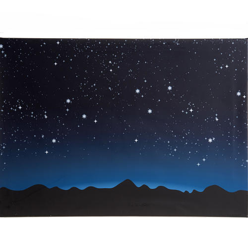 Sfondo presepe luminoso led cielo e montagne 70x50cm | vendita