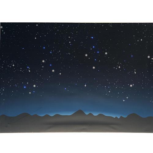 Sfondo presepe luminoso led cielo e montagne 70x50cm 2