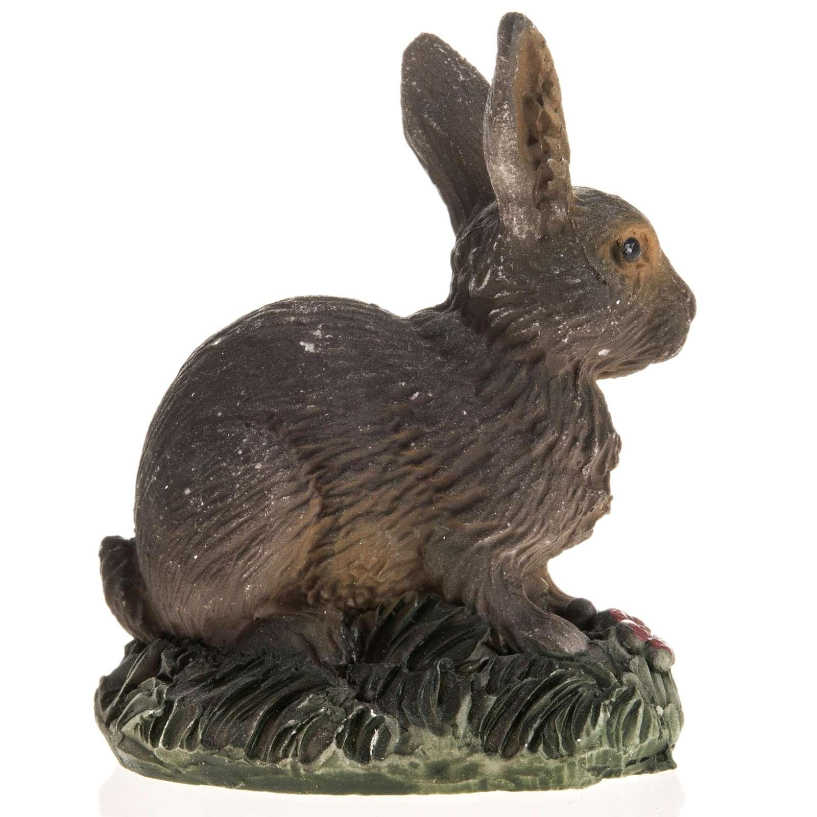 Coniglio marrone resina presepe 14 cm 3