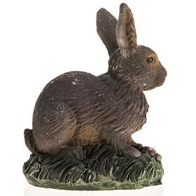 Coniglio marrone resina presepe 14 cm s2