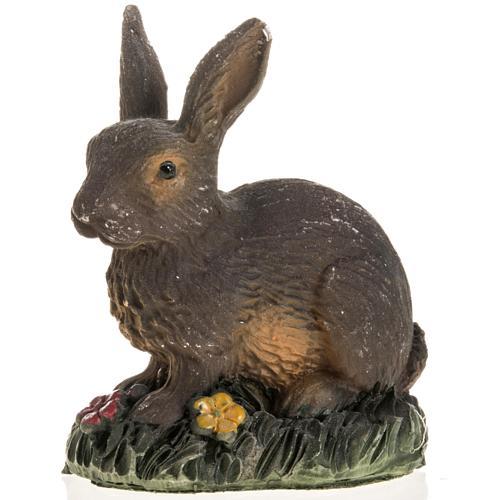 Coniglio marrone resina presepe 14 cm 1
