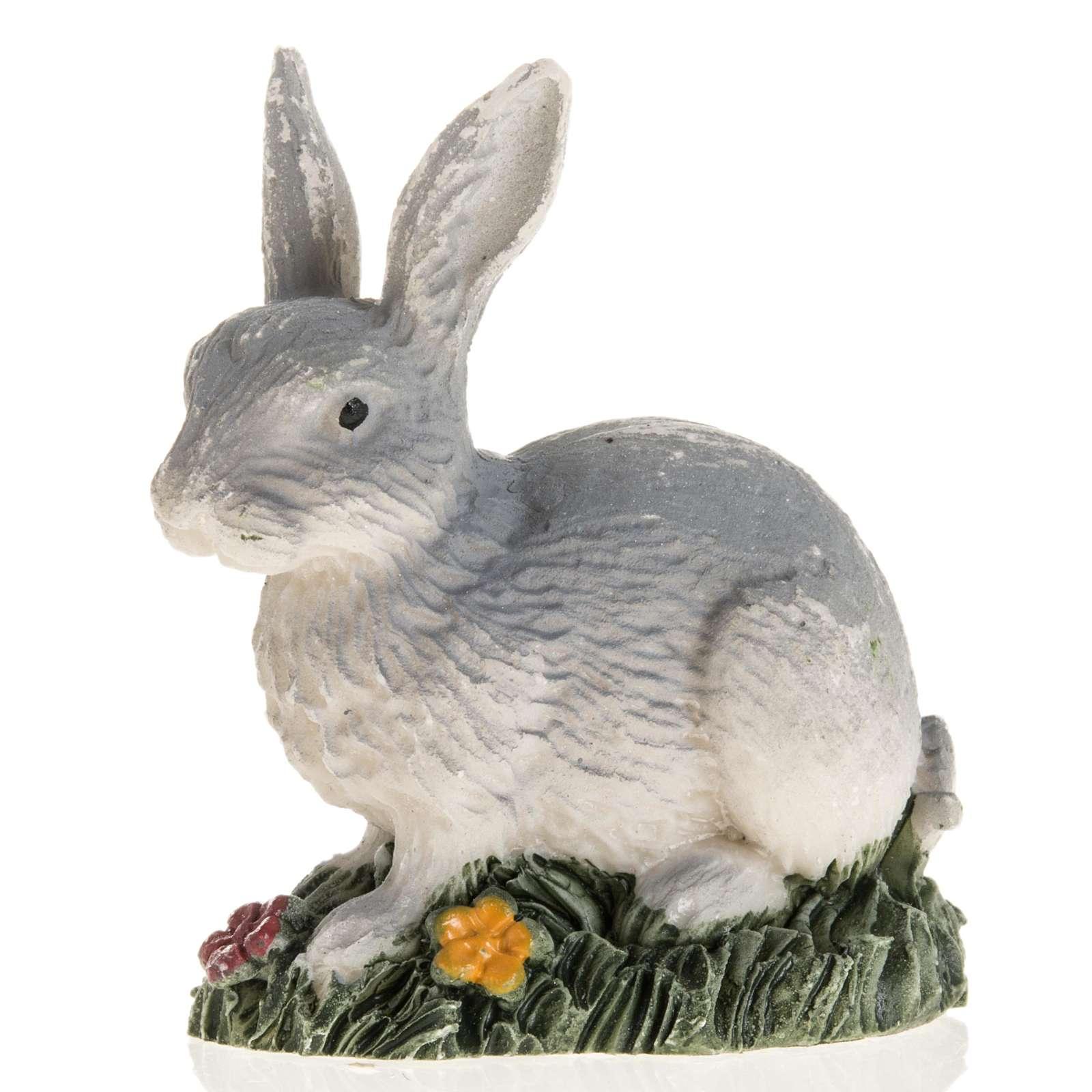 Coniglio grigio resina presepe 14 cm 3
