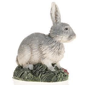 Coniglio grigio resina presepe 14 cm s2