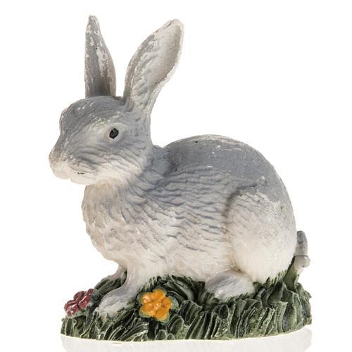 Coniglio grigio resina presepe 14 cm 1