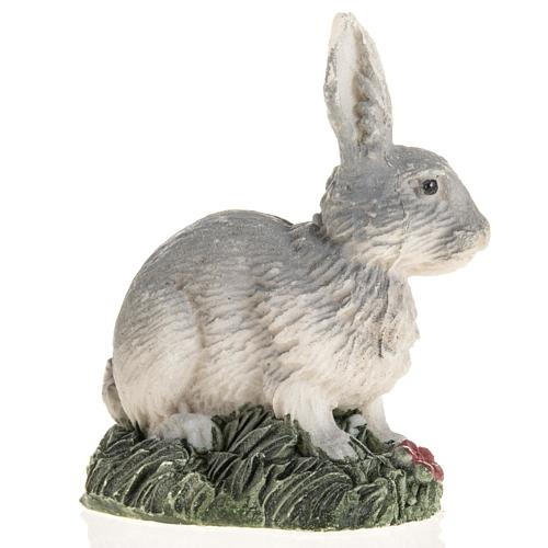 Coniglio grigio resina presepe 14 cm 2