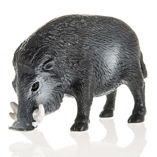 Wildschwein für Krippe 10 cm, aus Harz 1