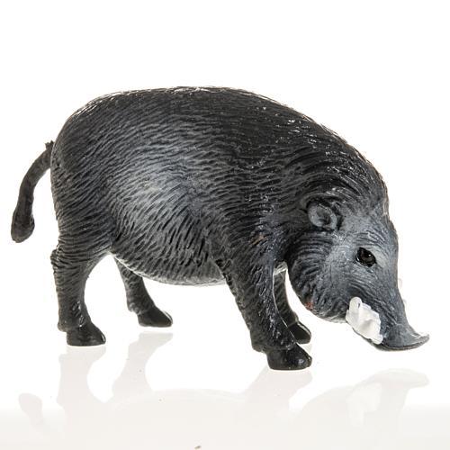 Wildschwein für Krippe 10 cm, aus Harz 2