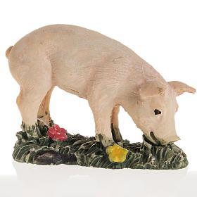 Animaux pour la crèche: Cochon rose résine crèche Noel 10 cm