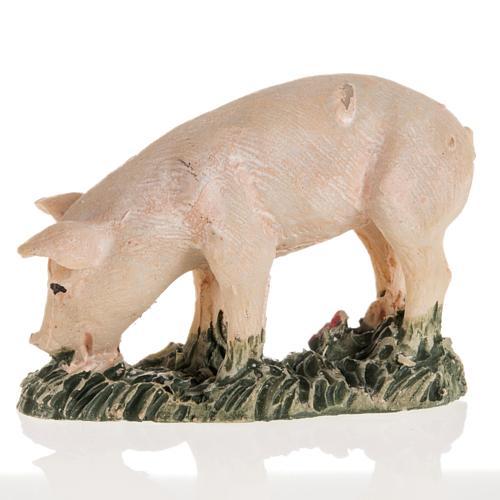Świnia różowa szopka żywica 10 cm 2