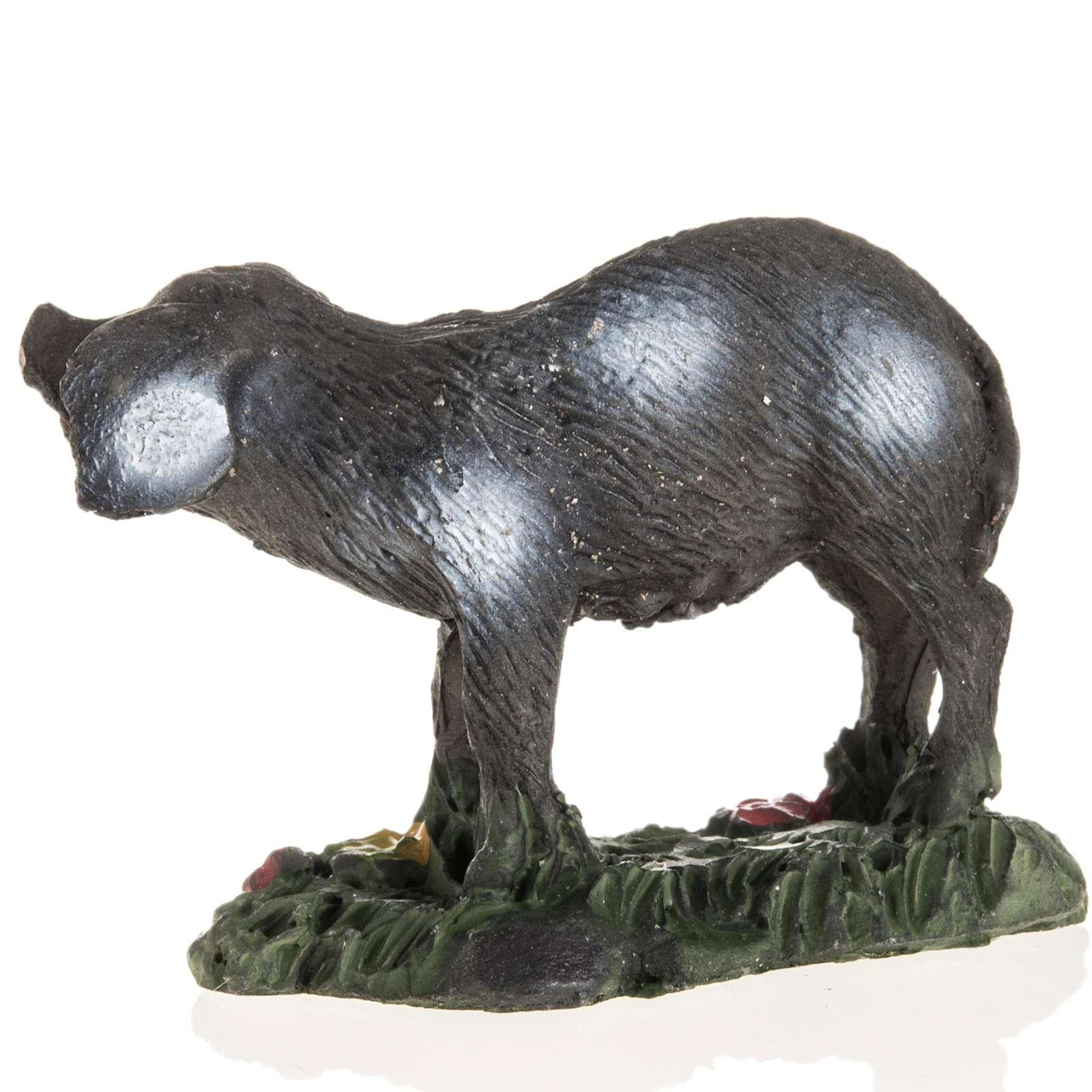 Nativity figurines, black pig in resin, 10cm 3