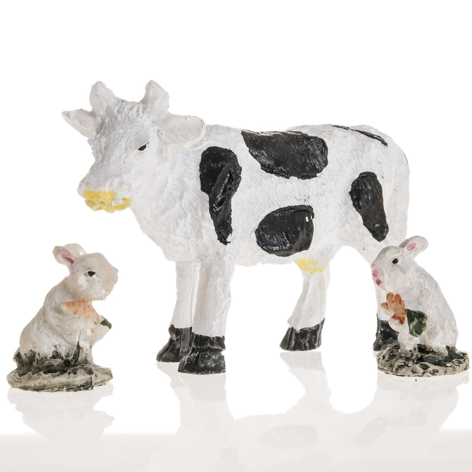 Nativity figurines, cow and rabbits in resin, 10cm 3