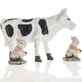 Nativity figurines, cow and rabbits in resin, 10cm s2