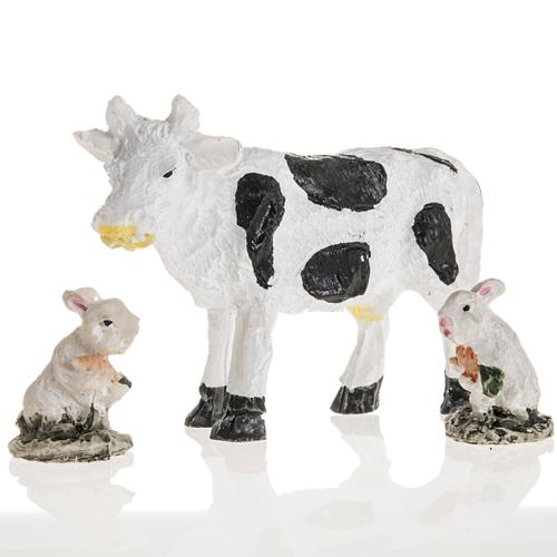 Nativity figurines, cow and rabbits in resin, 10cm 1