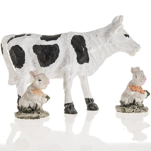 Nativity figurines, cow and rabbits in resin, 10cm 2
