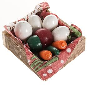 Nativity accessory, box with eggs and vegetables s1