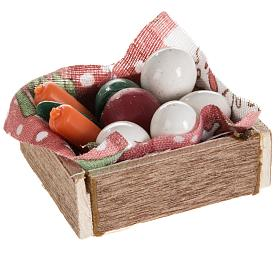 Nativity accessory, box with eggs and vegetables s2