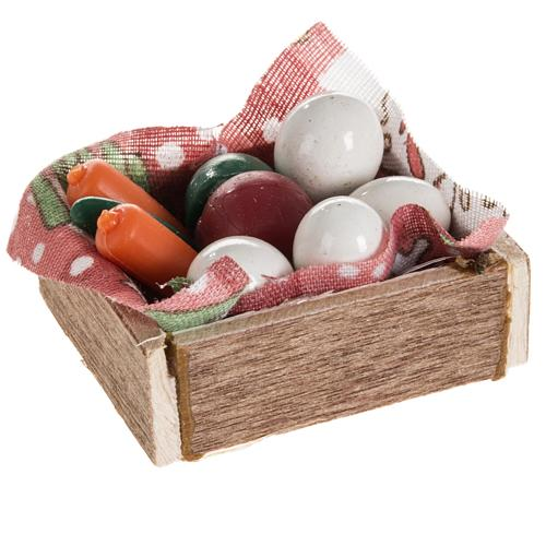 Nativity accessory, box with eggs and vegetables 2