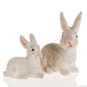 Animales para el pesebre: Conejos resina belén 10 cm. 2 pz.