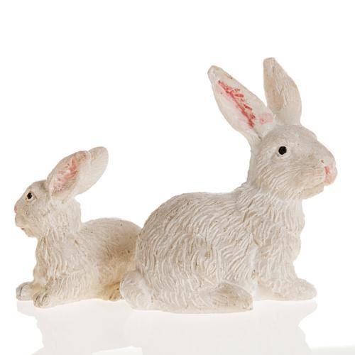 Nativity figurine, resin rabbits measuring 10cm 2 pcs 2