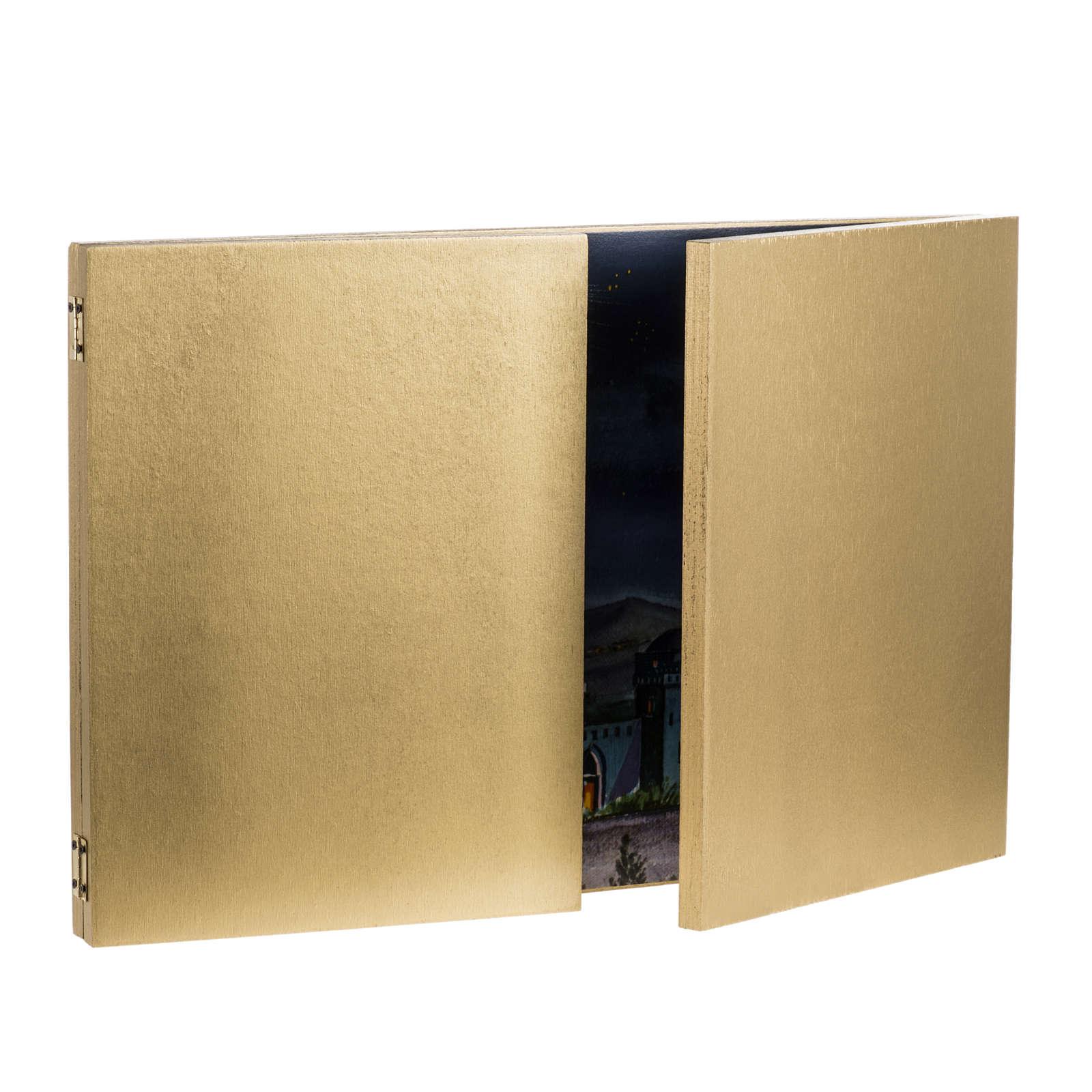 Fondo tríptico en madera, con paisaje árabe 34x102 4