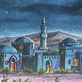 Fond crèche Noel paysage arabe triptyque bois 34x102 s2