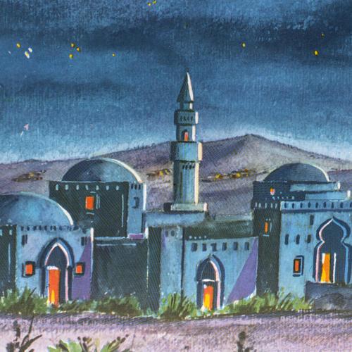 Fond crèche Noel paysage arabe triptyque bois 34x102 2