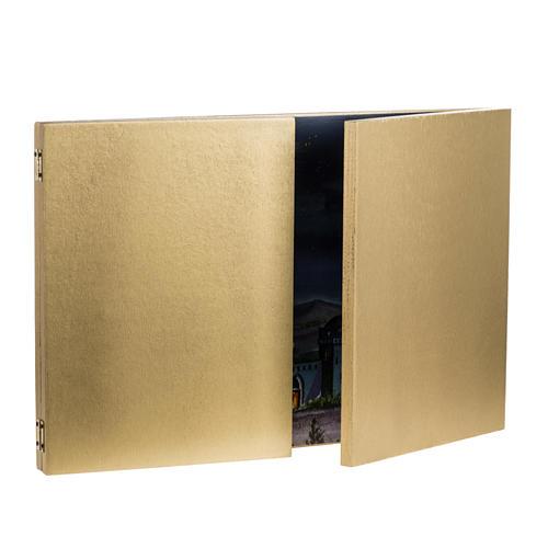 Tryptyk drewno: tło szopki pejzaż arabski 34x102 3
