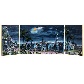 Paisagens, Cenários de Papel e Painéis para Presépio: Tríptico madeira plano de fundo presépio paisagem árabe 34x102 cm