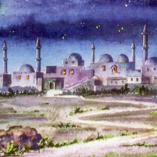 Trittico legno sfondo presepe paesaggio arabo 20x42 2