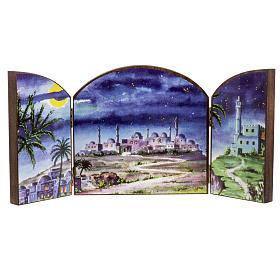 Paisagens, Cenários de Papel e Painéis para Presépio: Tríptico madeira fundo presépio paisagem árabe 20x42 cm