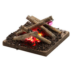 Electric fire for nativities, 2 intermittent LED lights 5x5cm s2