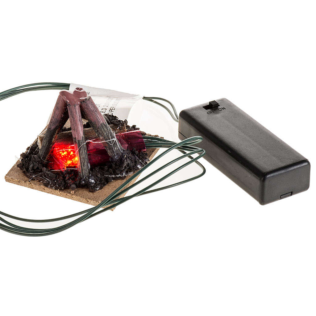 Electric fire for nativities, 2 intermittent LED lights 5x5cm 4