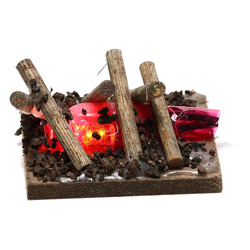 Electric fire for nativities, 2 intermittent LED lights 5x5cm 1