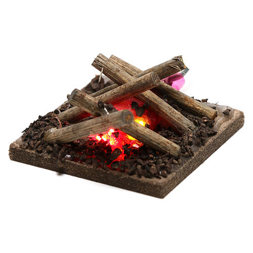 Electric fire for nativities, 2 intermittent LED lights 5x5cm 2