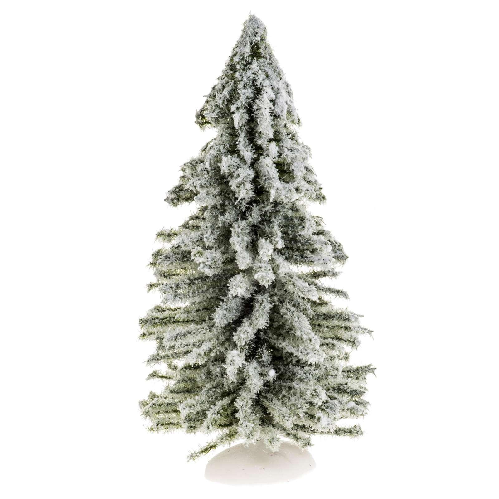 Árbol de navidad con nieve H 15 cm 4